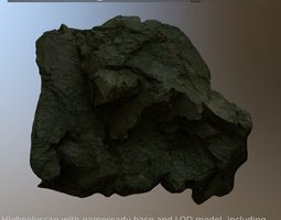 sharp rockwall scanned and game-ready low-poly 3d model