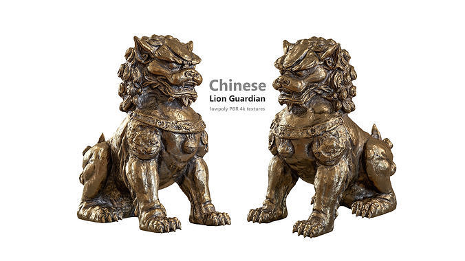 Chinese lion guardian sculpture lowpoly PBR 4 materials