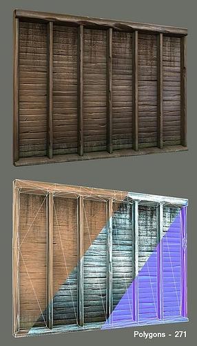 wood wall fixture 3d model low-poly obj mtl ma mb 1