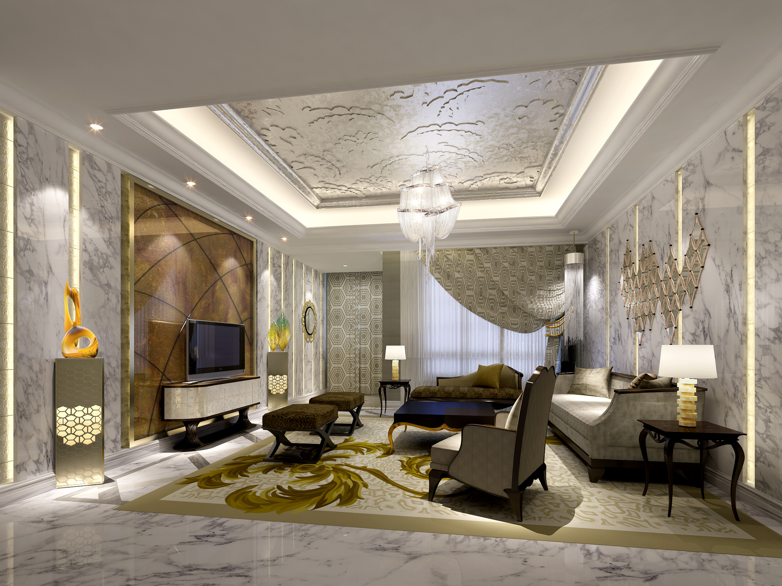 Model Living Room luxury living room 3d architecture | cgtrader