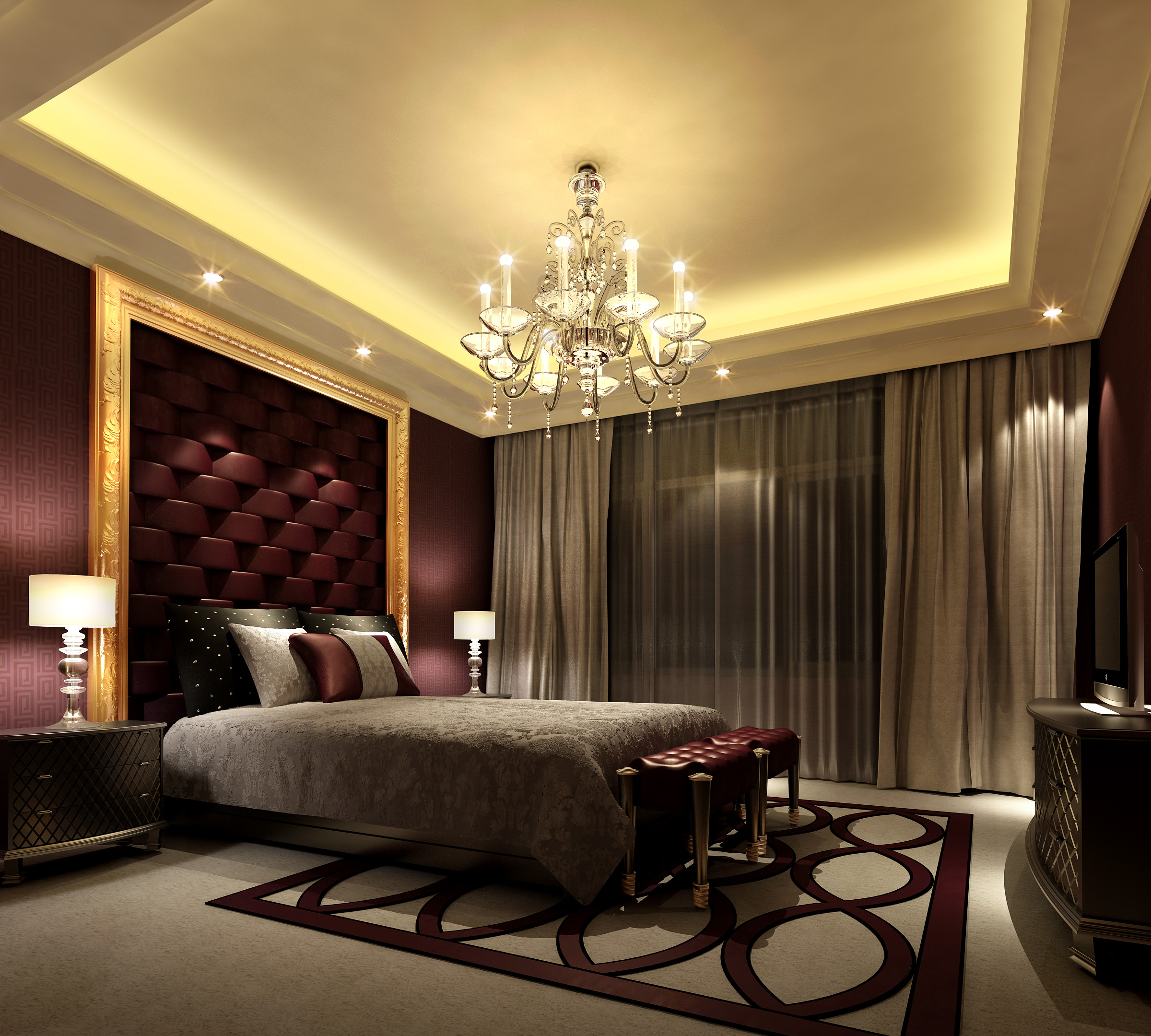 Elegant bedroom furnishings 3D | CGTrader