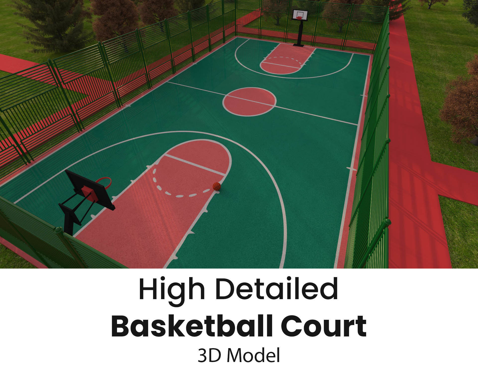 Detailed Outdoor Basketball Court - Low Poly