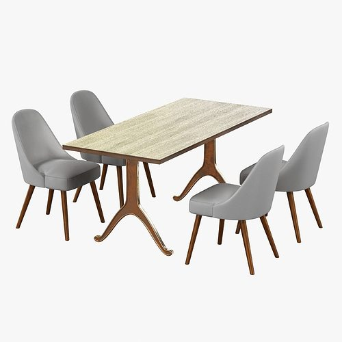 west elm midcentury dining chair and table 3d model