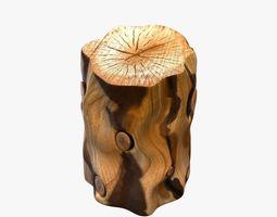 West elm Natural Tree Stump Side Table 3D model
