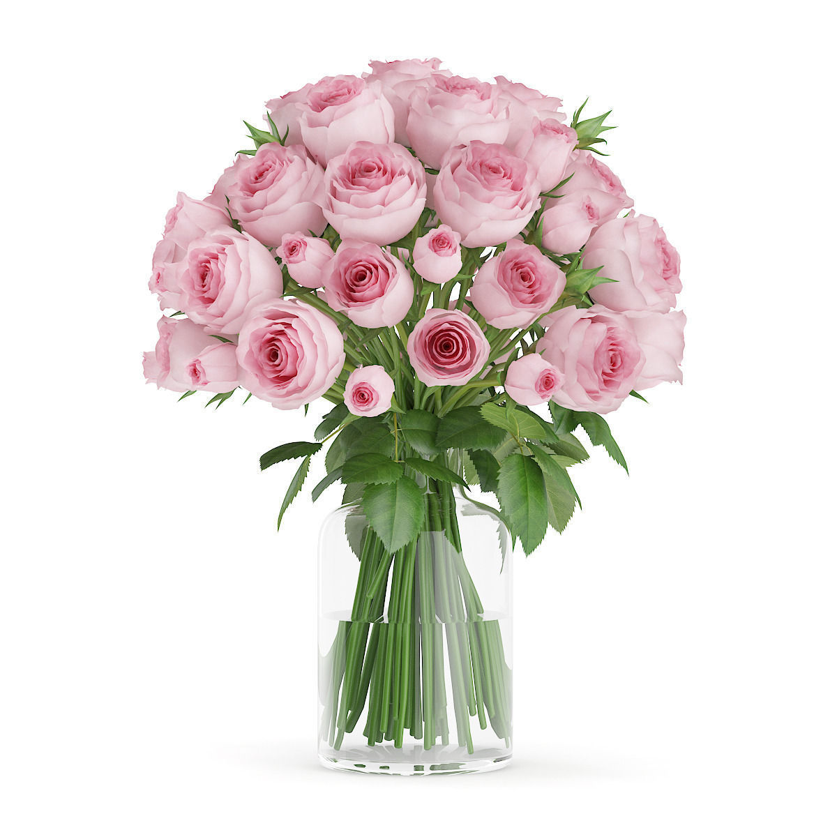 Pink Roses In Gl Vase Model