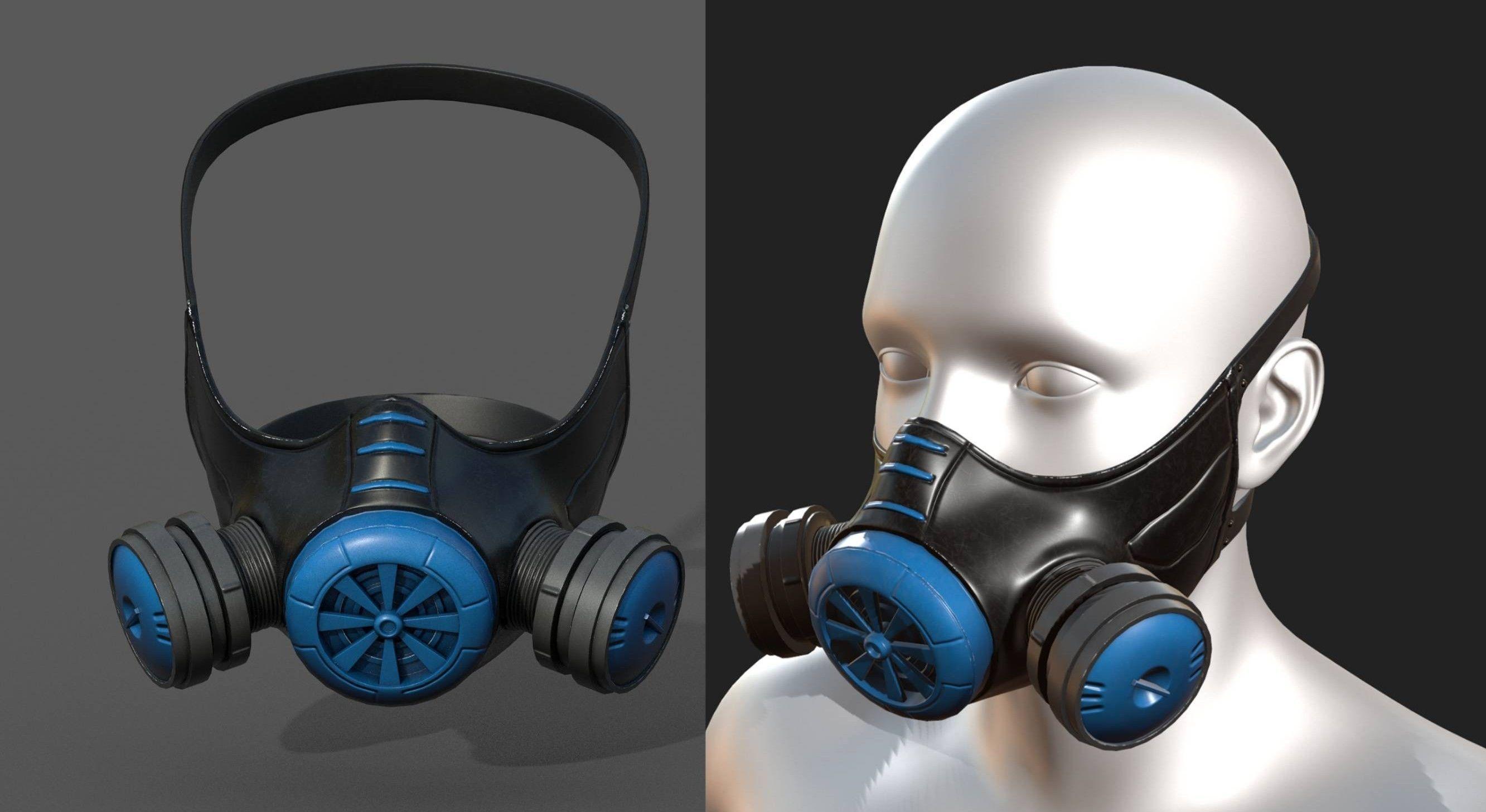 Gas mask helmet 3d model military combat fantasy