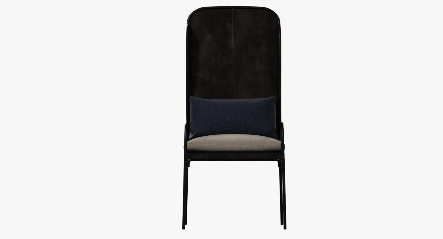 ... Restoration Hardware Iron Wingback Chair 3d Model Max Obj 3ds Fbx Mtl 3  ...