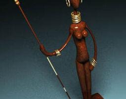 3D African Sculpture Statuette