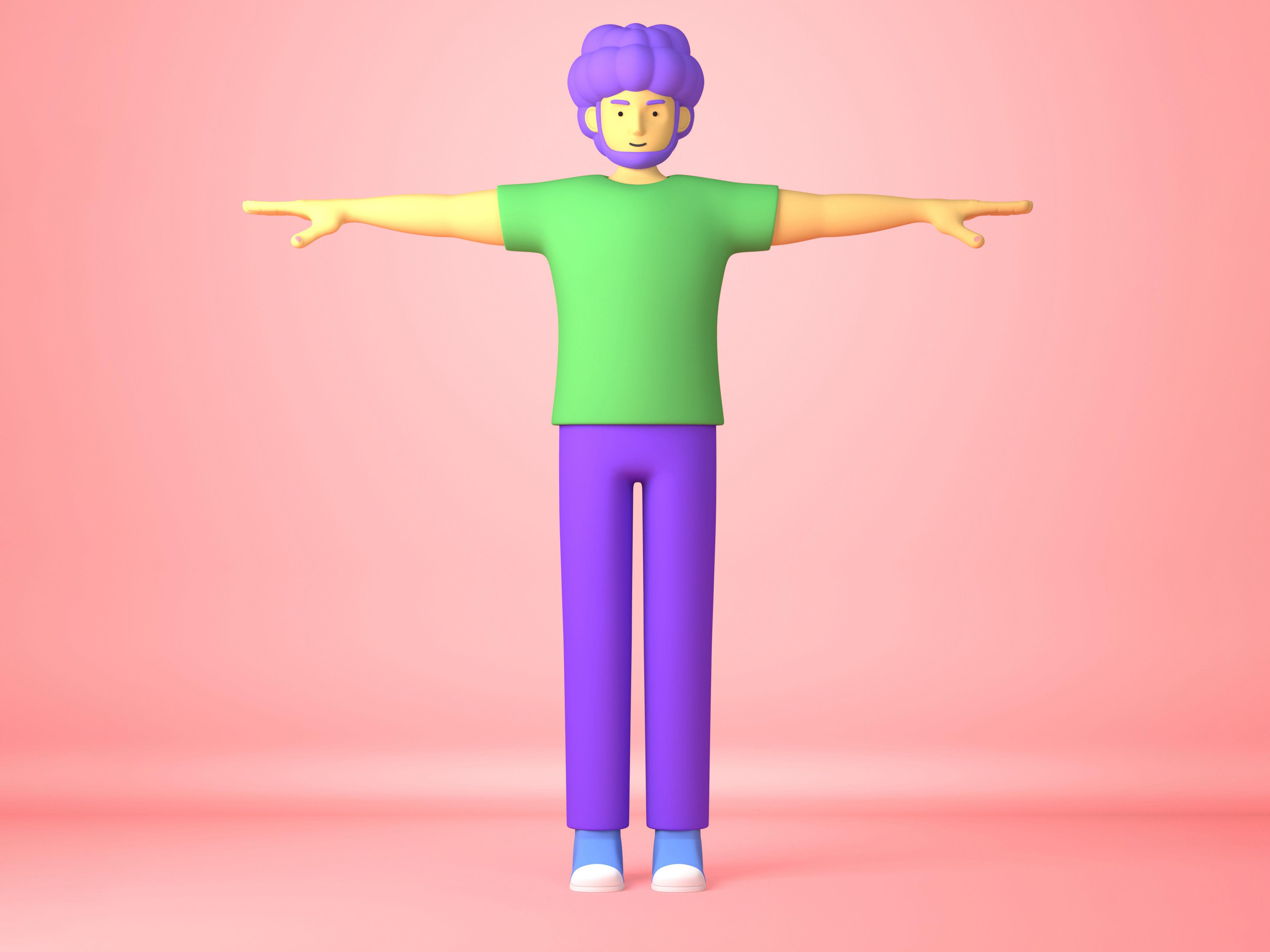 Cartoon Character adult man 3D model