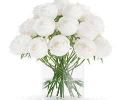 3d model white roses in glass vase