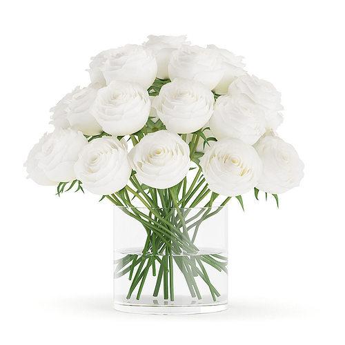 3d Model White Roses In Glass Vase Cgtrader