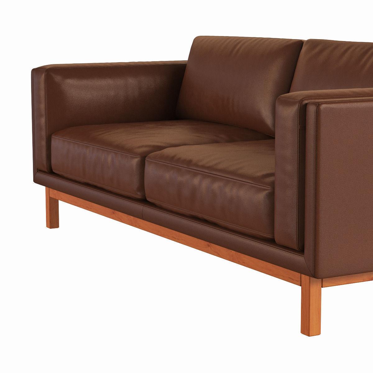 West elm dekalb leather sofa 3d model max obj fbx mtl for Elm furniture
