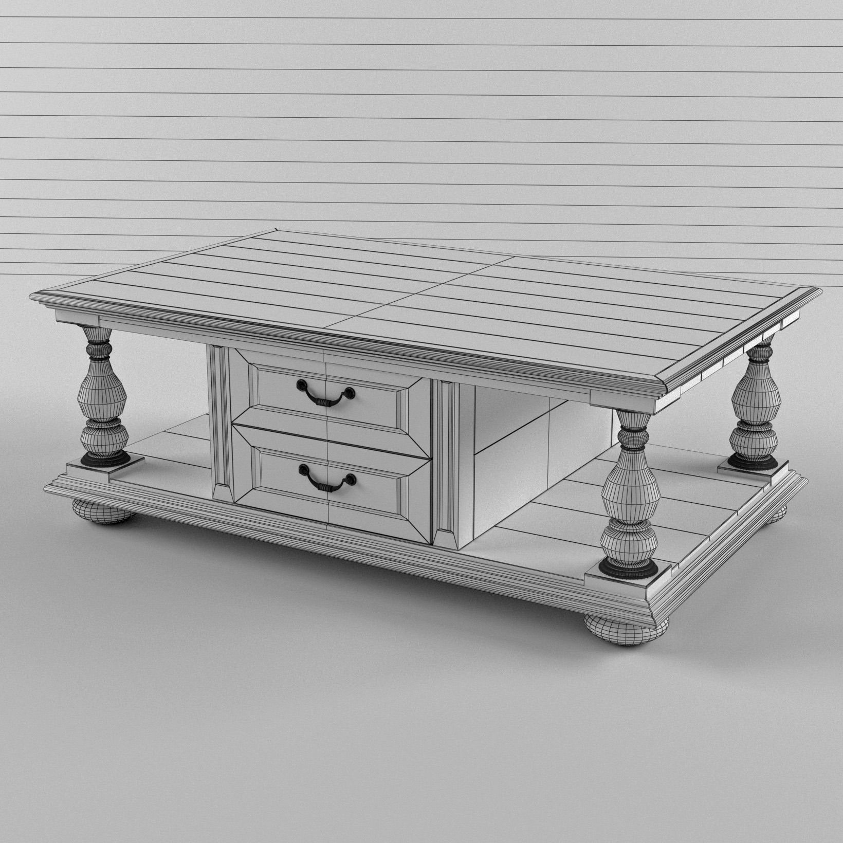 3D model White coffee table in classic style