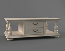 White Coffee Table In Classic Style 3D