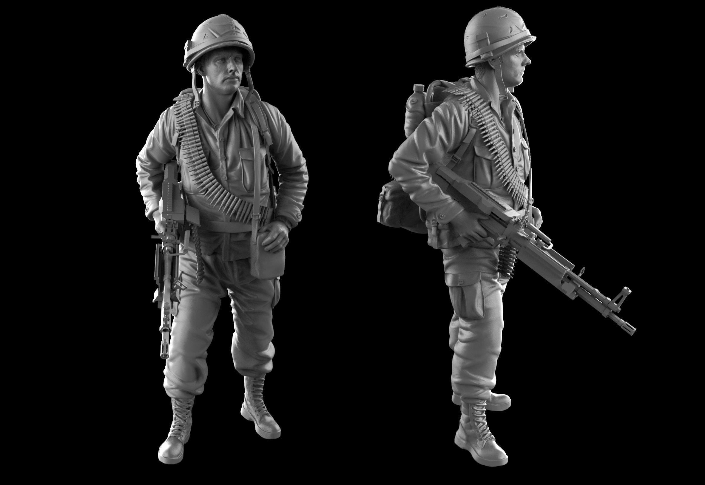 USA soldier with machine gun 1960