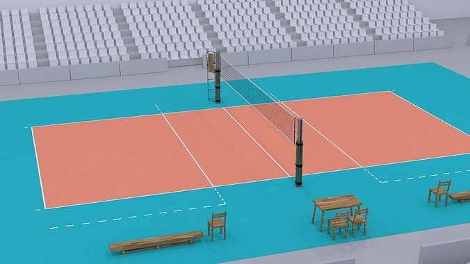 volleyball court higly detailed real size 3D model OBJ 3DS ...