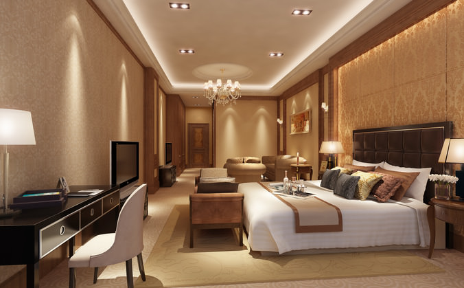 Hotel room 3d model huge bedroom cgtrader for Hotel design standards