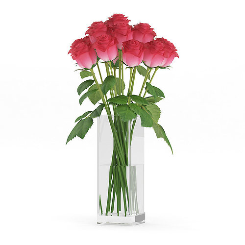 3d Model Red Roses In Glass Vase Cgtrader