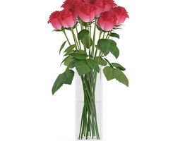 3d model red roses in glass vase