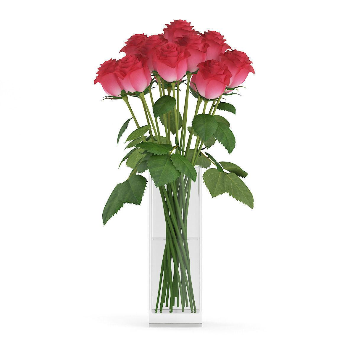 Red Roses In Gl Vase Model Max Obj Mtl Fbx C4d 1