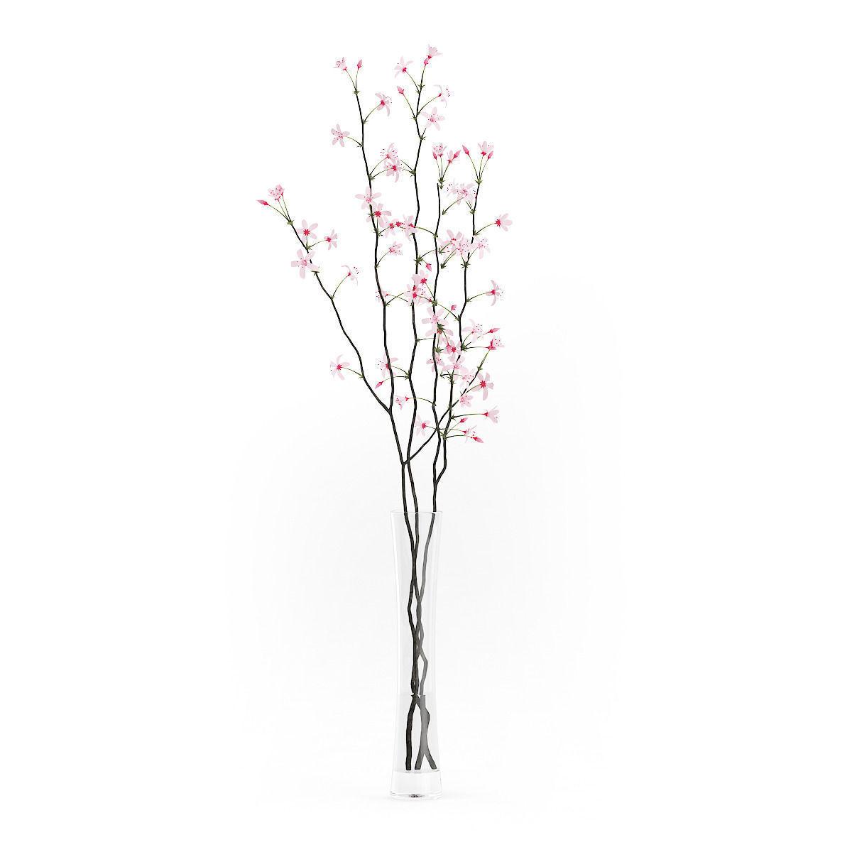 Flowering tree twigs in glass vase 3d cgtrader flowering tree twigs in glass vase 3d model max obj fbx c4d mtl 3 reviewsmspy