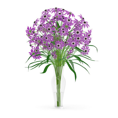Purple Flowers In Glass Vase 3d Model Cgtrader