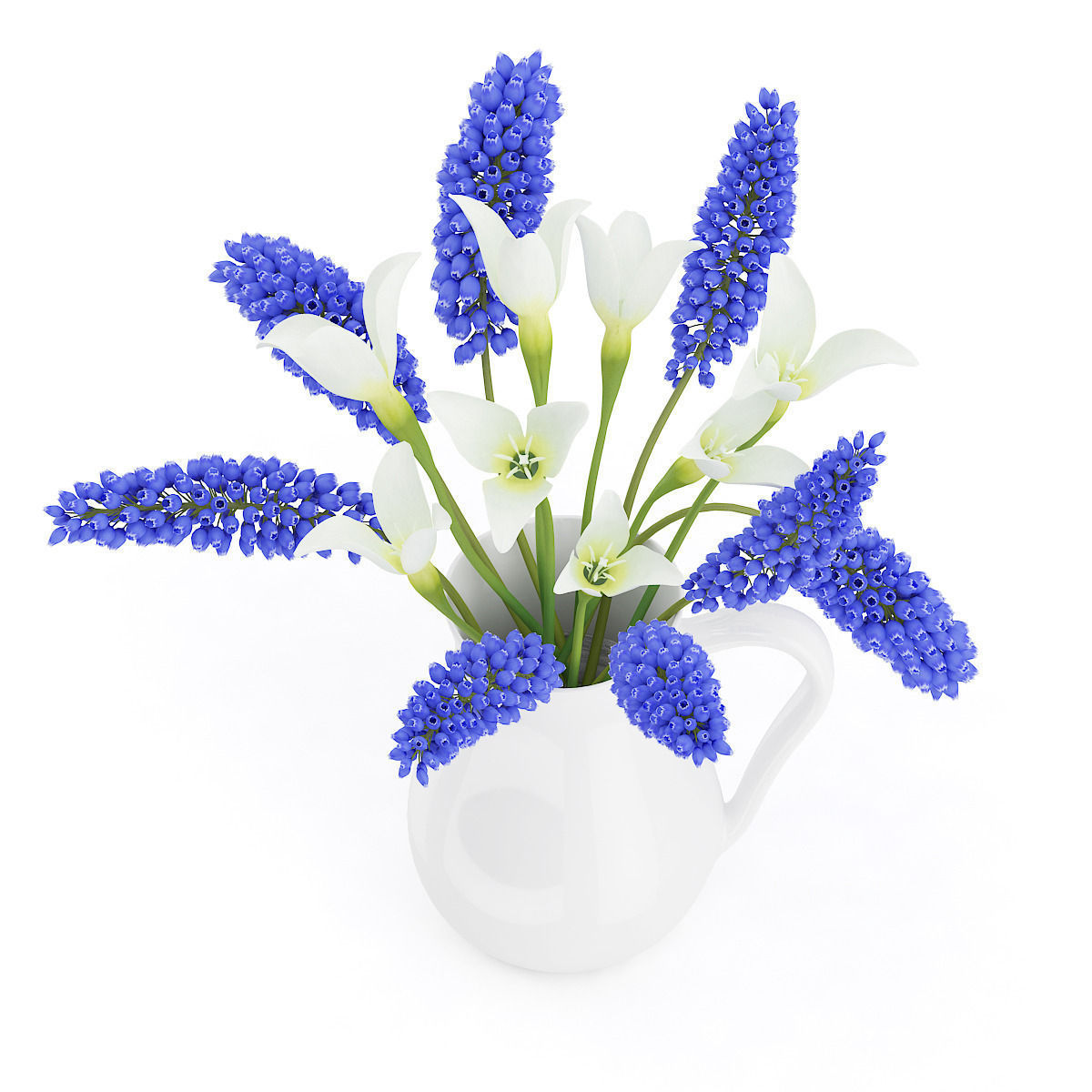 3d blue and white flowers in white pot cgtrader blue and white flowers in white pot 3d model max obj fbx c4d mtl 5 izmirmasajfo