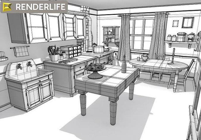 Kitchen 3d Model kitchen vintage 02 3d model max obj fbx c4d ma mb mtl