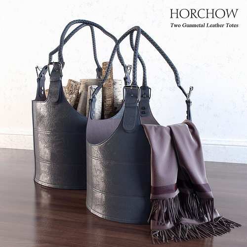 two gunmetal leather totes 3d model max 1