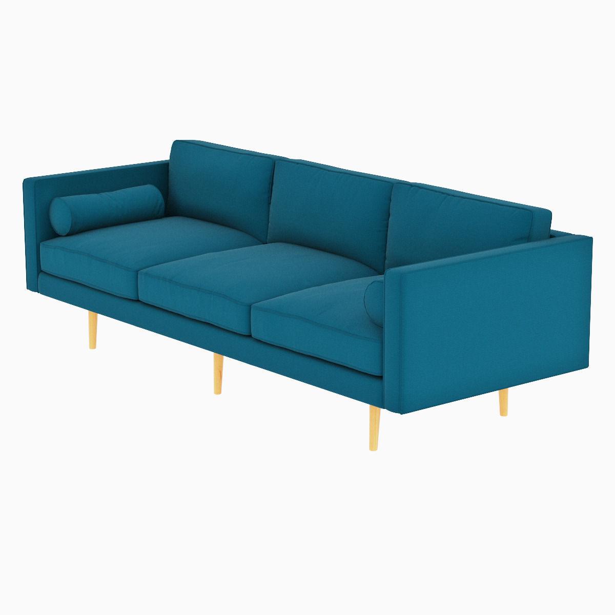 ... West Elm Monroe Mid Century Sofa 3d Model Max Obj Fbx Mtl 3 ...