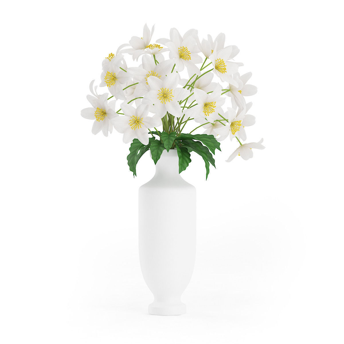 White Flowers in Tall Vase 3D | CGTrader
