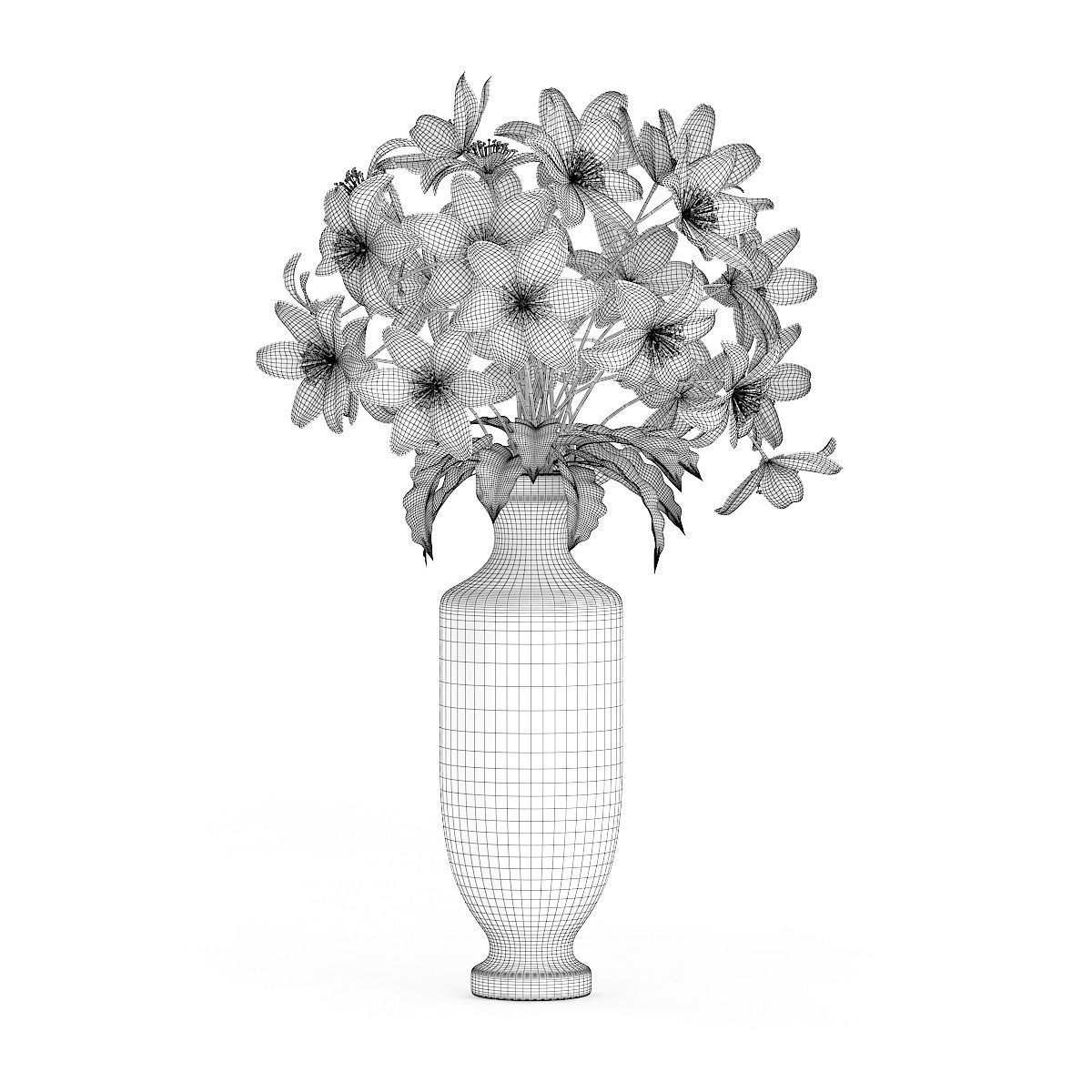White flowers in tall vase 3d cgtrader white flowers in tall vase 3d model max obj fbx c4d mtl 4 mightylinksfo