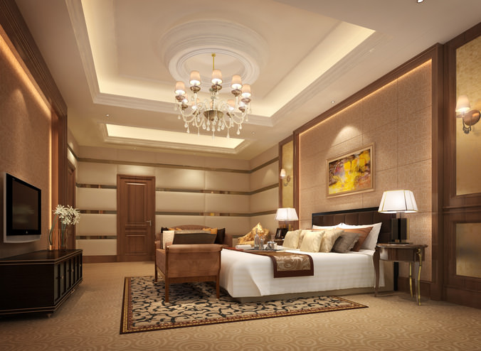 3d luxurious hotel bed room cgtrader for Living room ideas 3d