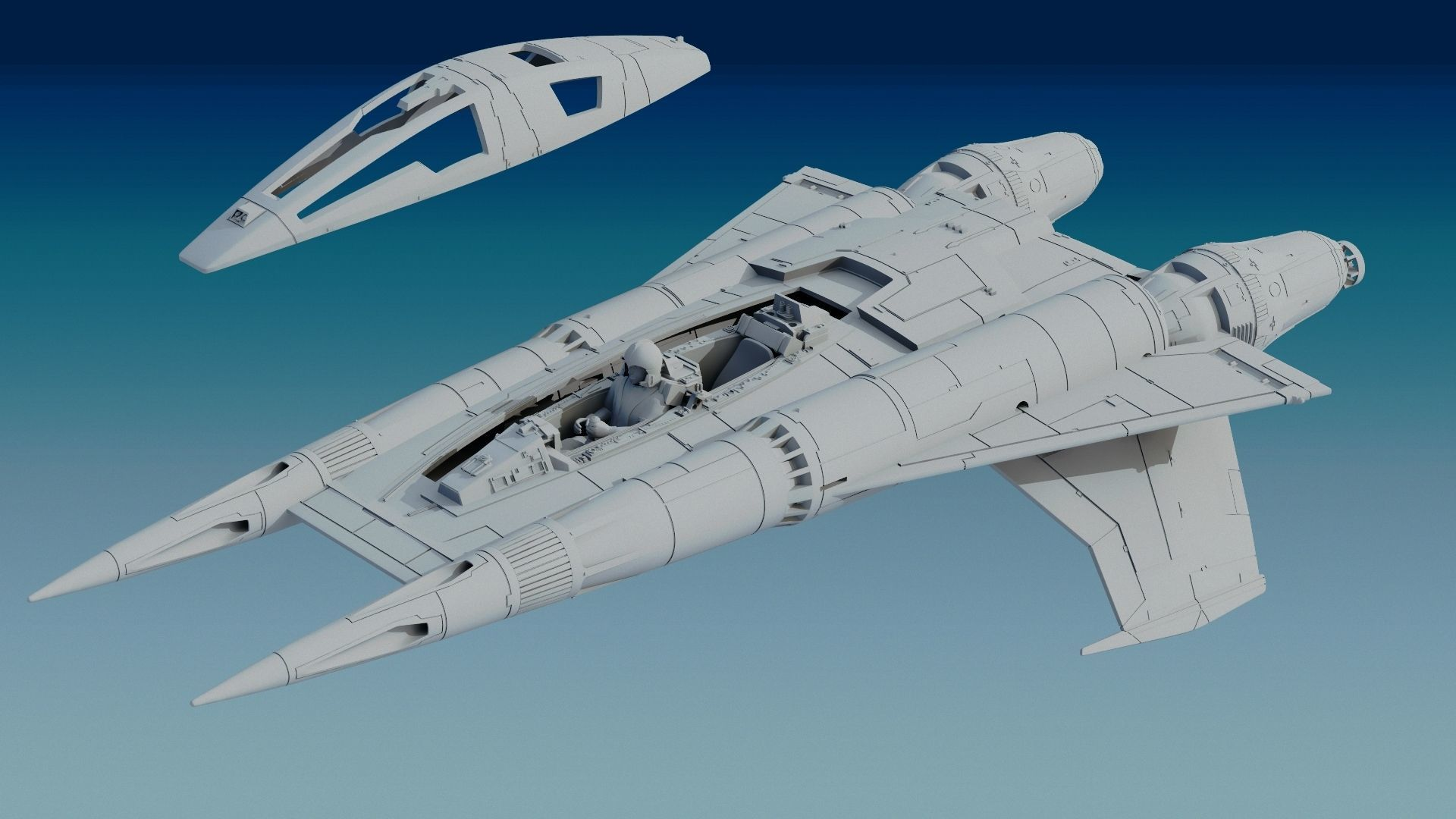 Buck Rogers StarFigther Thunder Fighter STL FILE