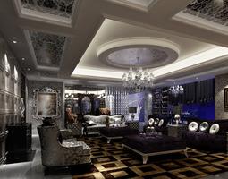 dark living room 3d model