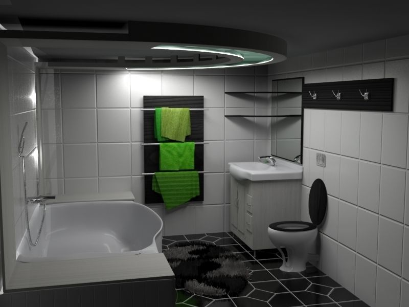 Modern Black-White-Green Bathroom