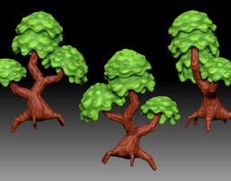 3d model stylized cartoony fantasy tree
