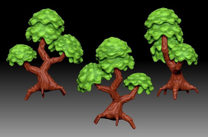 stylized cartoony fantasy tree 3d model obj mtl fbx ma mb ztl wrl wrz x3d 1
