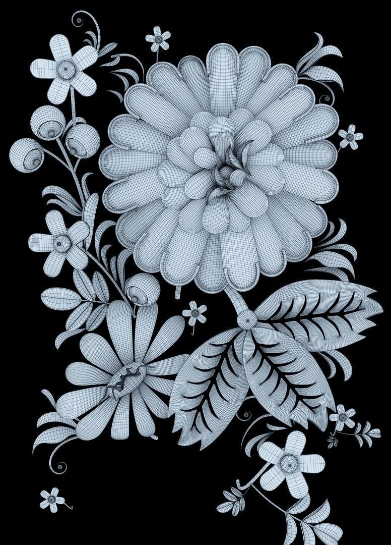 3D Khokhloma Russian pattern   CGTrader for Flower Pattern Animated  303mzq