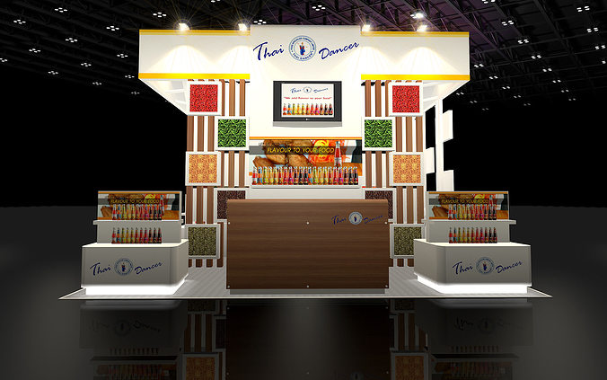Food Exhibition Booth Design : D design booth food specialize cgtrader