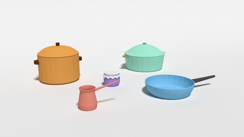 Low Poly Cartoon Kitchen Items 3d Model Cgtrader