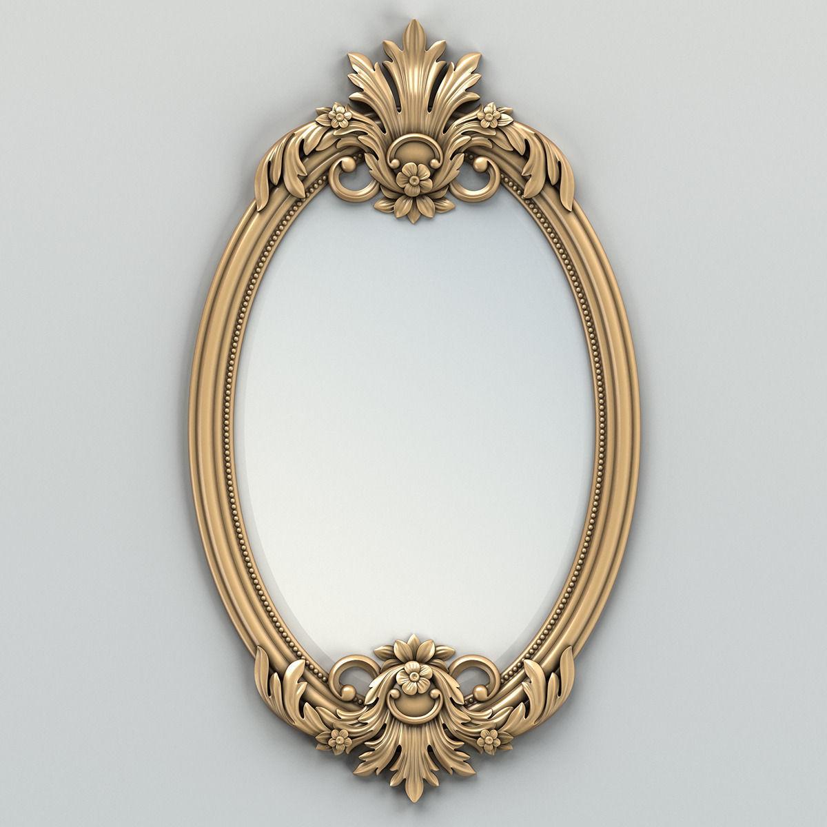 oval mirror frame 002 3d model max obj fbx stl 2 - Mirror Picture Frame