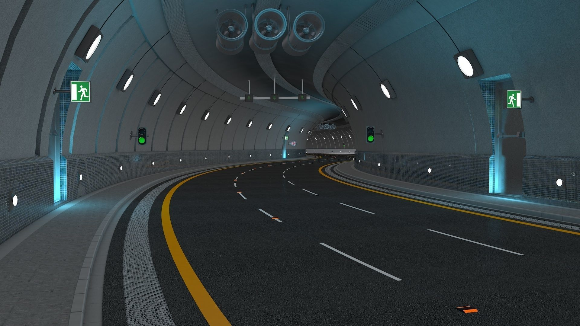 Highway Tunnel Adjustable and Rigged
