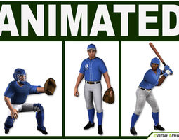 3 low poly baseball players 3d model low-poly rigged animated fbx