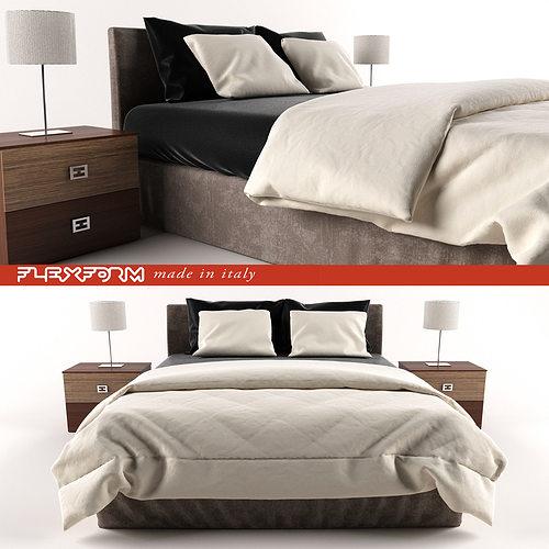 bed modern 3d model max obj mtl 1