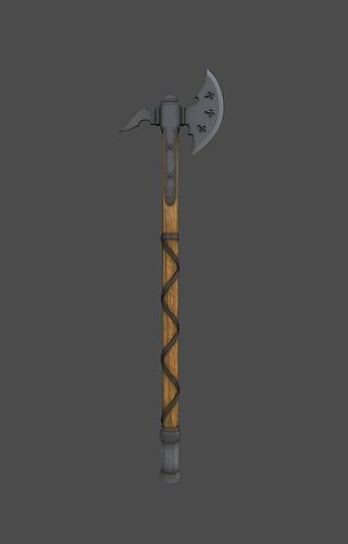 knight axe 3d model low-poly obj fbx mtl tga 1