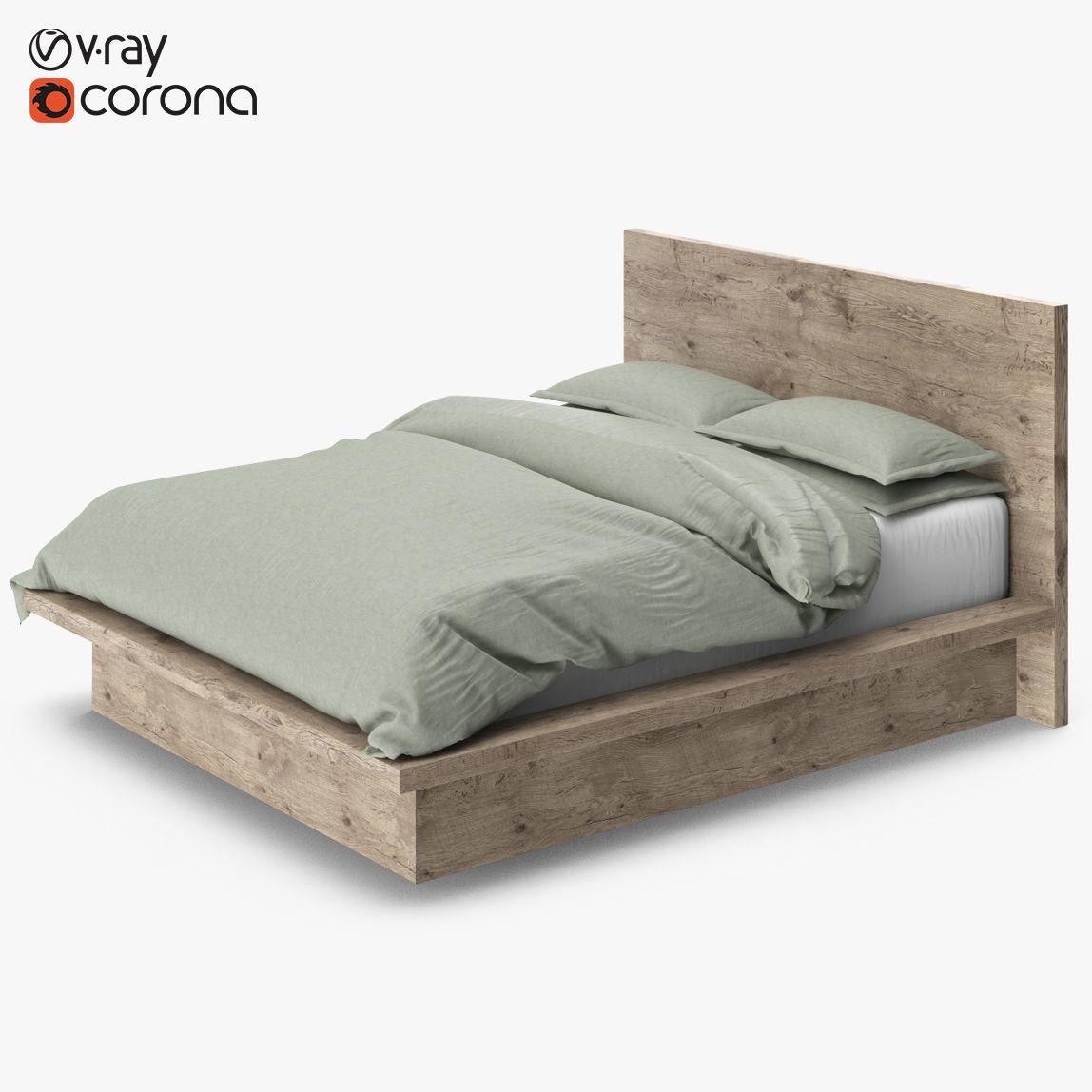 Restoration Hardware Reclaimed Russian Oak Platform Bed 3d
