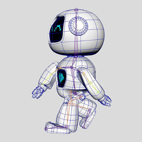 Mini Robot 3D Model animated rigged MAX OBJ 3DS FBX MA MB ...