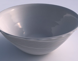 Bowl wide with twisted extruded lines 3D printable model