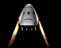 3D DRAGON V2 SPACE CAPSULE ANIMATED